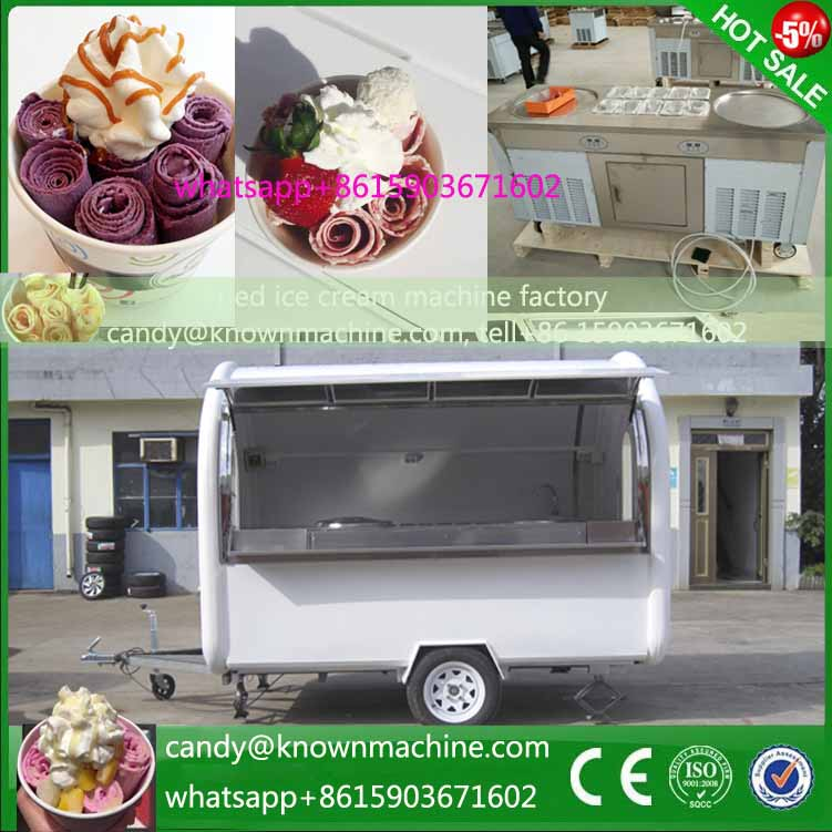 Hot Sale Food Trailer fried ice cream roller machine food cart size 280*200*215cm