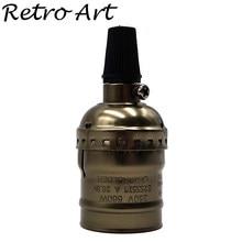 Suporte de lâmpada de alumínio e27, suporte vintage para lâmpadas em bronze, base de lâmpada antiga de edison 110v/220v