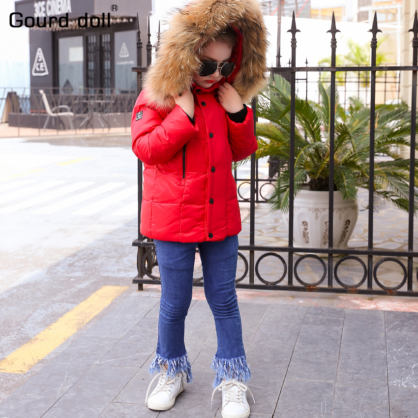 -30 Degrees Girl boys winter 90% duck down Mink big collar hooded Outerwear & Coats 2017 kids winter jacket thick down parkas a15 girls down jacket 2017 new cold winter thick fur hooded long parkas big girl down jakcet coat teens outerwear overcoat 12 14