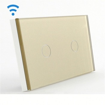 Bseed Wireless Touch Switch 2 Gang 1 Way Dimmer Switch With Remote Control Gold Touch Switch Dimming Led Us Au Eu Uk smart home us black 1 gang touch switch screen wireless remote control wall light touch switch control with crystal glass panel