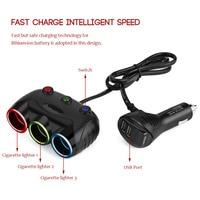 12V 24V 120W Car 3 Socket Cigarette Lighter Splitter Adapter 5V 3 1A Dual USB Charger