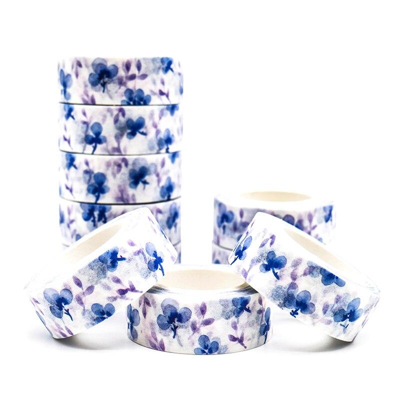 10m*15mm Creative Purple Flower Washi Tape Adhesive Paper Tape School Office Supplies Decorative Masking Tape Sticker 1 PCS