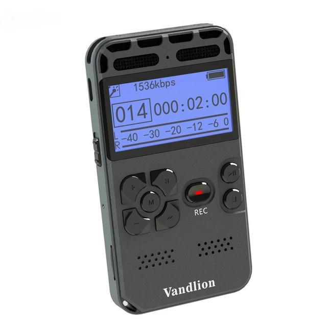 Vandlion professionnel enregistreur vocal numérique activé par la voix 16GB PCM enregistrement longue durée de vie de la batterie lecteur de musique MP3 V35