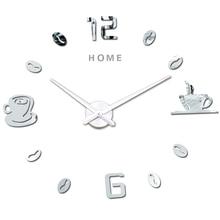 Большие настенные часы Современная дизайнерская кофейная чашка 3D DIY большие декоративные часы акриловые зеркальные наклейки большие настенные часы Домашние буквы