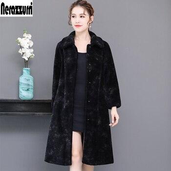 Nerazzurri Winter long natural real fur coat women 2019 turn down collar thicken warm plus size lamb fur jacket 4xl 5xl 6xl 7xl