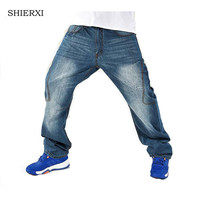 Nouveau style homme lâche jeans hiphop planche à roulettes jeans baggy pantalon denim pantalon hip hop hommes jeans grande taille 30-46