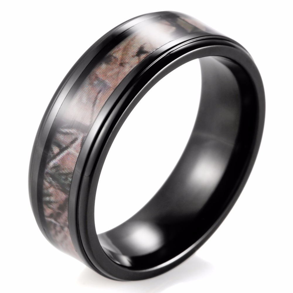 8mm Men's Black Camo Ring Titanium Edges Real Tree Camoflage Wedding Band  Outdoor Hunting Ring For
