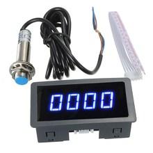 New 4 Digital LED Blue Tachometer RPM Speed Meter+Hall Proximity Switch Sensor NPN