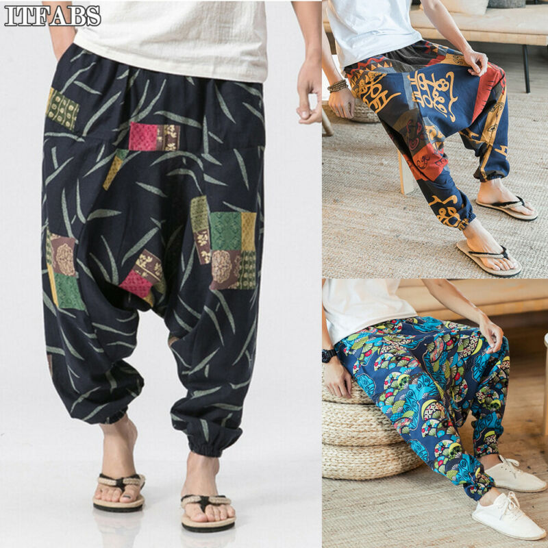 Baggy Pants Trousers Orange Black Casual New-Fashion Print-Style Men's Cotton Blue Boho