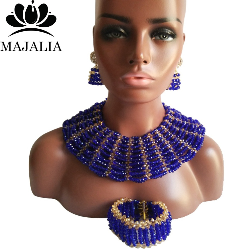 Majalia Classic Nigerian Wedding African Jewelry Set Royal blue and Gold ab Crystal Necklace Bride Jewelry Sets 10SX017Majalia Classic Nigerian Wedding African Jewelry Set Royal blue and Gold ab Crystal Necklace Bride Jewelry Sets 10SX017