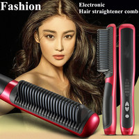 Hot 39W Electronic Hair Straightener 110 220V Ceramic Ionic Anion Digital Tourmaline Ceramic Flat Instant Magic