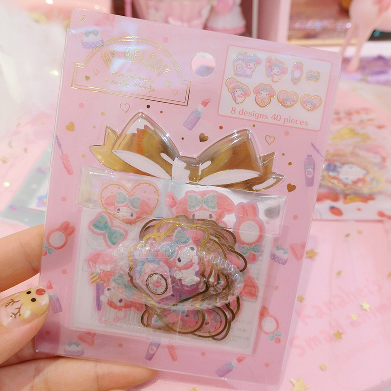 4 Styles Cartoon  Seal Flake Little Twin Stars Cinnamoroll My Melody PVC Stickers Decoration Index Stickers For Kids Toys