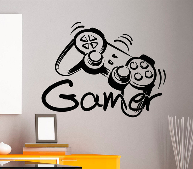 Free Shipping Game Controller Gamer Zone Wall Art Sticker Decal Home DIY  Decoration Wall Mural Removable