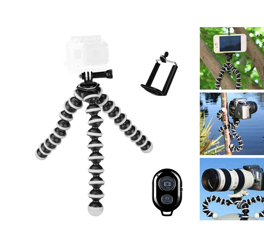 Large Size Octopus Tripod Flexible Selfie Tripod Gorillapod With Bluetooth Remote Shutter For Gopro Hero 4