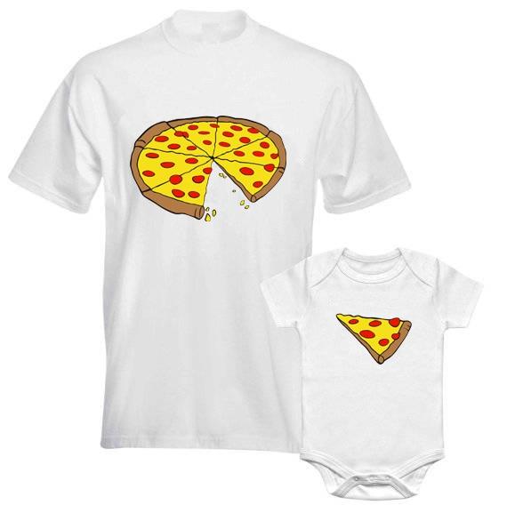 Drôle famille Look papa et fils famille correspondant vêtements Pizza imprimer T-shirt pour papa maman barboteuse pour bébé T-shirt pour enfants