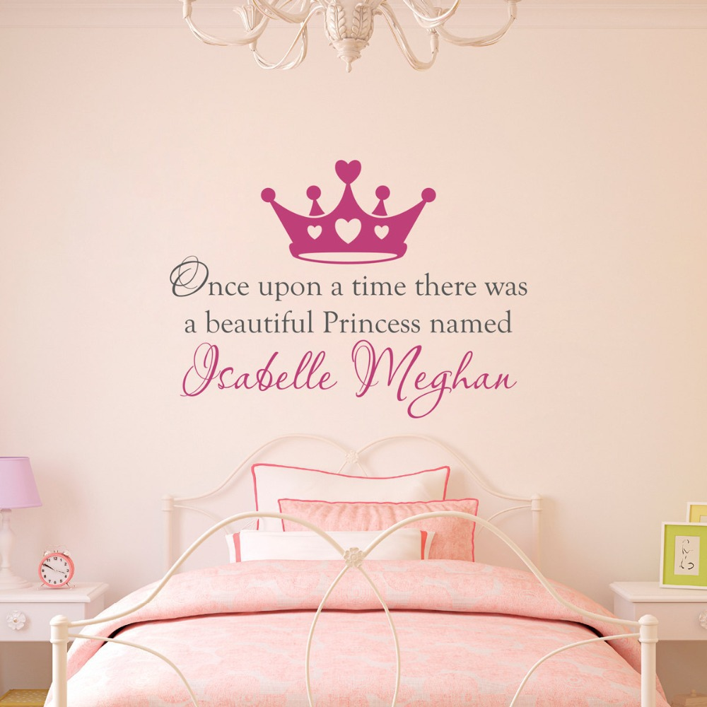 Custom Made Once Upon A Time Personalized Name Princess Crown Wall Decal Stickers Quotes Art Nursery Vinyl Kids Decor In From Home