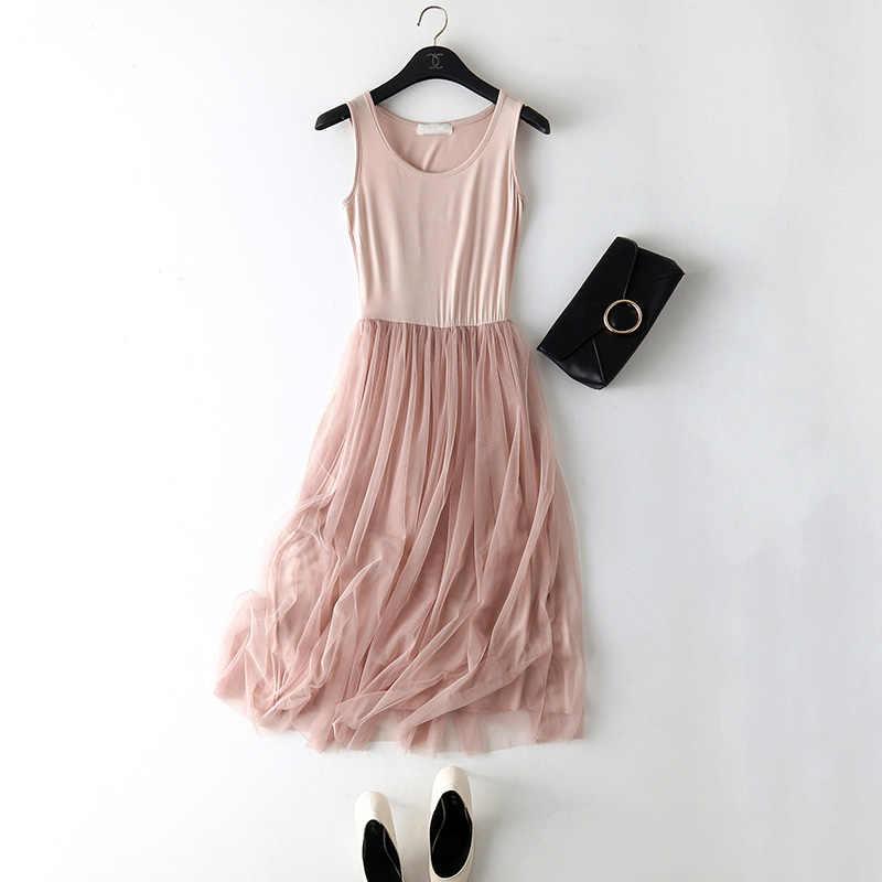 f6a22a4ebf36e 2018 New Sexy Spaghetti Strap Patchwork Mesh Dress Spring Summer Women  Gauze Lace Tank Dress Basic