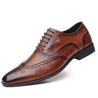British fashion Men wedding Business dress shoes man Pointed toe brogue Bullock office footwear shoes