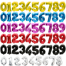 16 32 inch Number balloons Baby Shower Helium Foil ballon Gold Silver Pink Red Blue Digit Globos Birthday Party Wedding balloon