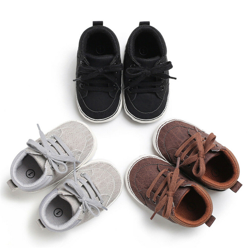 Newborn Baby Kids  Crib Shoes Boy Girl Soft Sole Solid Causal Bottom First-walker Anti-slip Sneakers Prewalker Shoes