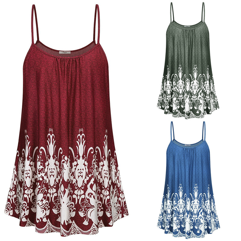 Summer Women Sleeveless Tops Printing Camis Casual Ladies Spaghetti Strap Tank Tops Off Shoulder Loose T-shirts Plus Size 5XL