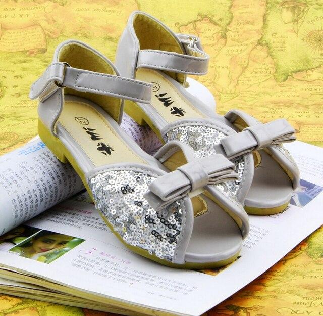 cute bowknot children sandals girls dandals sweet paillette princess flat shoes fashion children shoes girls shoes
