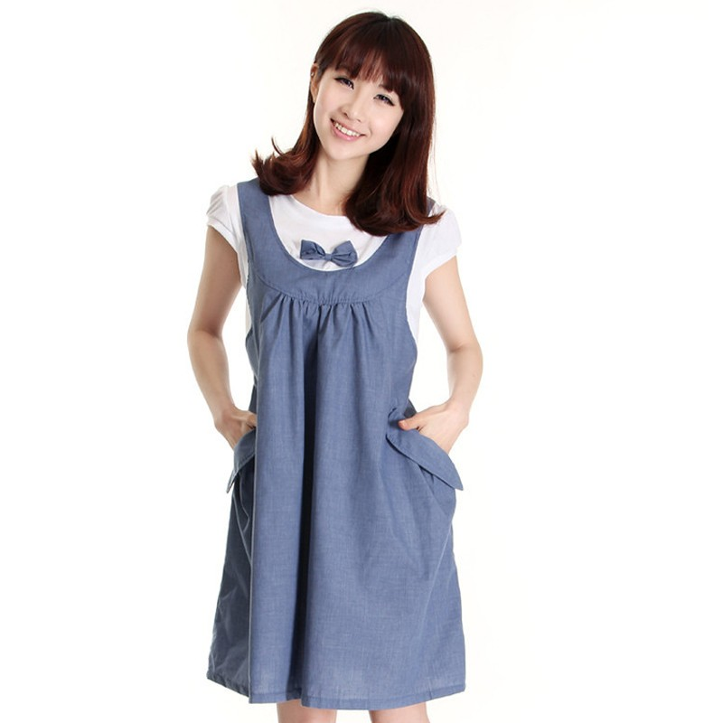 4965797b501b Cozy soft Summer Maternity Dress Bow Clothes For Pregnant Women ...