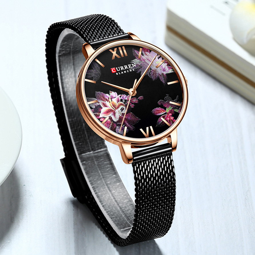 CURREN Elegant Woman Watch 2019 Brand Luxury Black Flower Women's Wristwatch Ultra Thin Casual Ladies Watches With Mesh Strap(China)