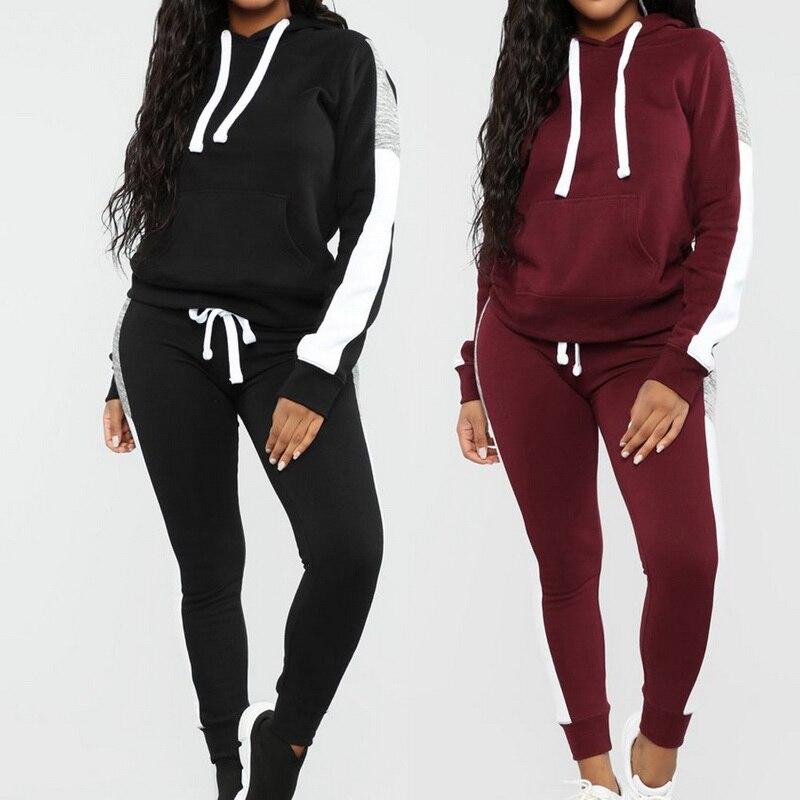 2019 Autumn New Sport Suit Women's Tracksuit Long Sleeve Striped Running Set Jogging Set Sweat Pants 2pcs Sportswear Female