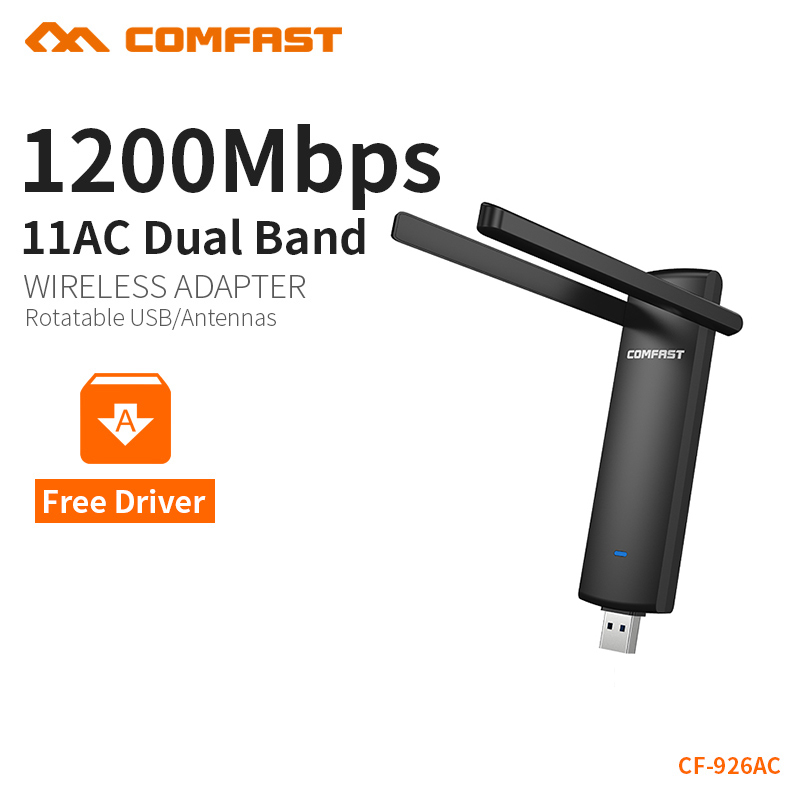 COMFAST Usb Wifi Adapter 1200mbps 2.4Ghz+5.8Ghz Dual Band wifi dongle Plug And Play AC Network Card USB Wifi Antenna CF-926AC-V2 lebole костюм