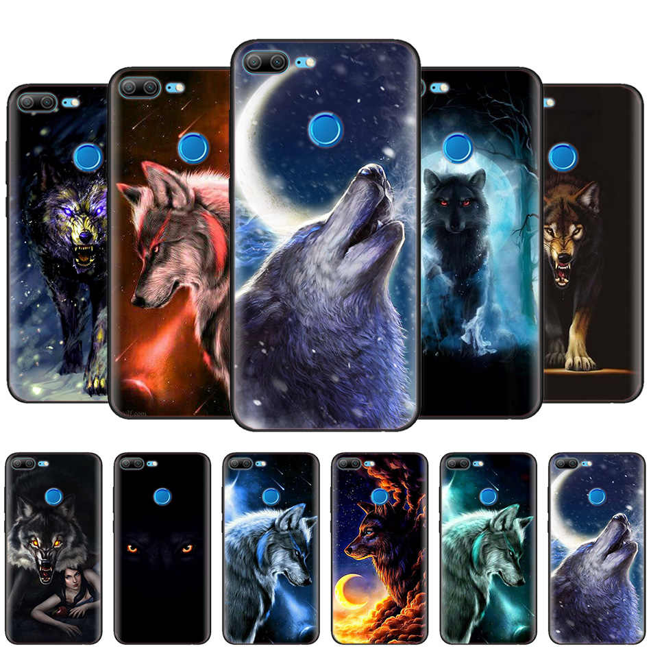 Black Silicone Case Bag Cover for Huawei Honor 10i Y7 Y6 Y5 Y9 8X 8C 8S 9 10 Lite Pro 2018 2019 V30 V30Pro Fierce Snow Wolf