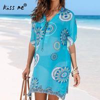 Lace up V neck Beach Dress Hollow Beach Cover Up Chiffon Women's Tunic Blue Printed Beachwear Cover Ups Summer Dresses for Women