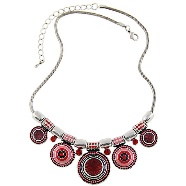 Match-Right Bohemia Vintage Metal Enamel Statement Necklace Women Multicolor Necklaces & Pendants Jewelry Colar For Gift Party