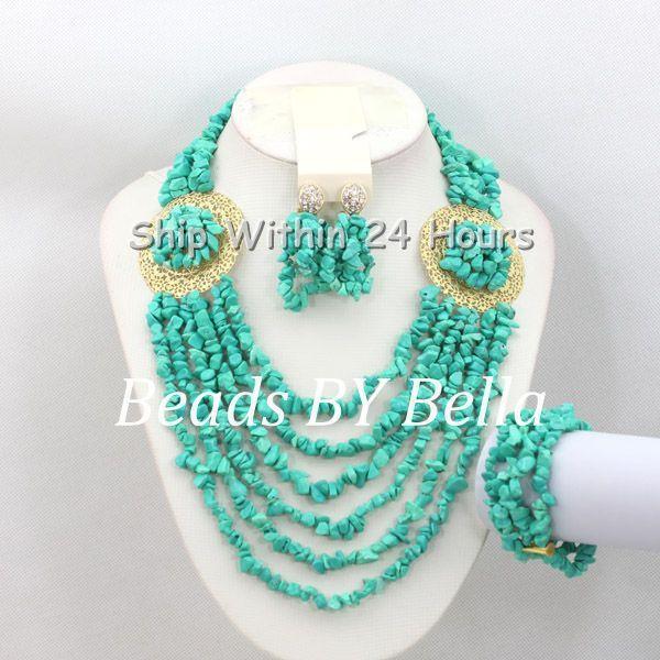 Trendy Bridal Beads Fashion Jewelry Set Women Costume Jewelry African Wedding Blue Stone Beads Necklace Set Free Shipping ABC836 цена и фото