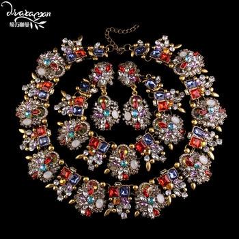 Dvacaman Brand2016 Fashion Rhinestone Three Jewelry Set Bride Statement Wedding Jewelry Choker Collar Accessory Femme Bijoux C50