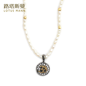 "Lotus Mann Very fine pearl set auger ""om"" silver gold-plated pendant clavicle necklace Six words aum"
