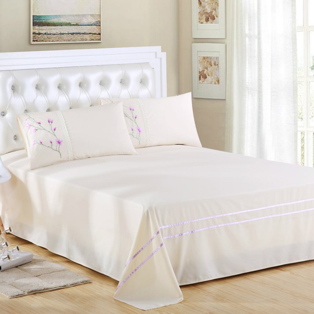 Ribbon embroidery bedspread designs - Free Shipping 100 Cotton Export Quality Embroidered Pillowcase Sheet 3pcs Sets Environmental Protection No