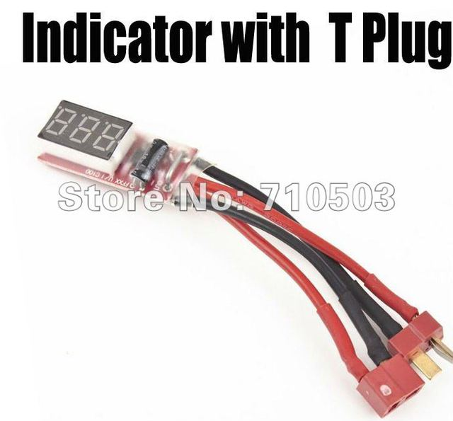 Free shipping 2s-6s Lipo Battery Voltage Indicator Checker Tester with T plug hot