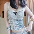 Twinkling Silver Sequins Crop Top Sweetheart Sexy Crop Tops Summer Style Women Tops 2016