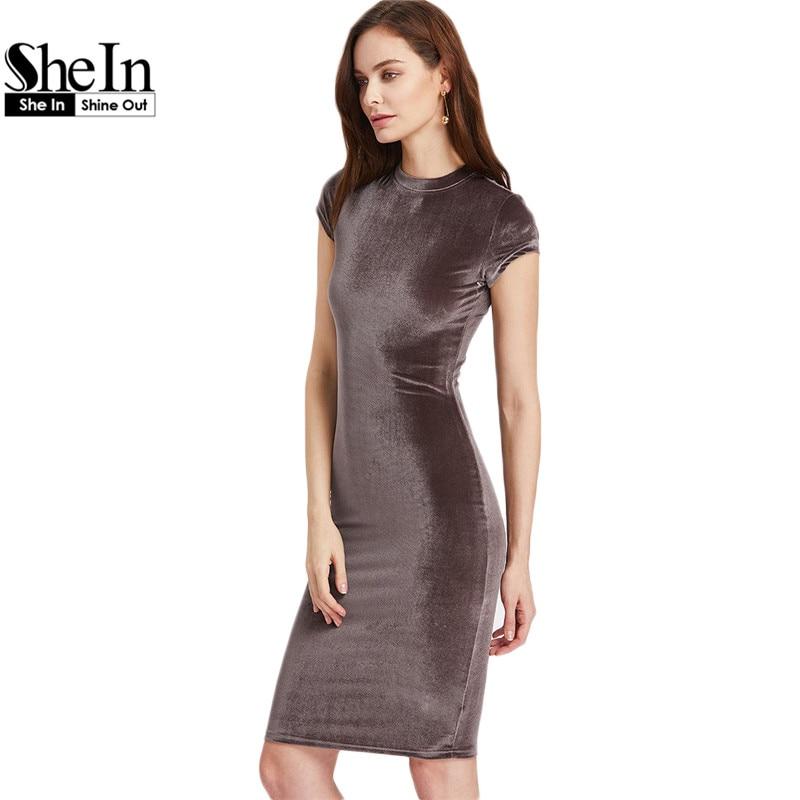 Shein женщин коричневый бархат оболочка платья летние дамы шею с коротким рукавом длиной до колен элегантный карандаш dress