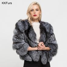 JKKFURS 2019 New Arrivals Winter Womens Thick Warm Real Fox Fur Short Coat High Quality Outerwear Fashion Jacket S7149