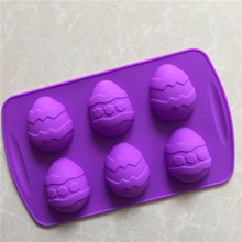 silicone cake mold small Easter eggs handmade soap mold 6 hole recovery mode DIY molds 1487(China)
