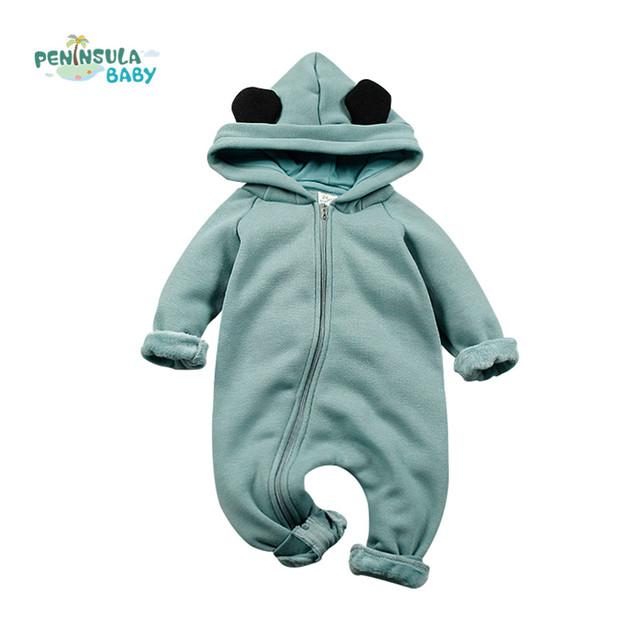 Bebé Mamelucos De Algodón Grueso de Dibujos Animados de invierno Monos Calientes de la Cremallera de Manga Larga Traje de Recién Nacidos Niños Niñas Ropa Infantil prendas de Vestir Exteriores
