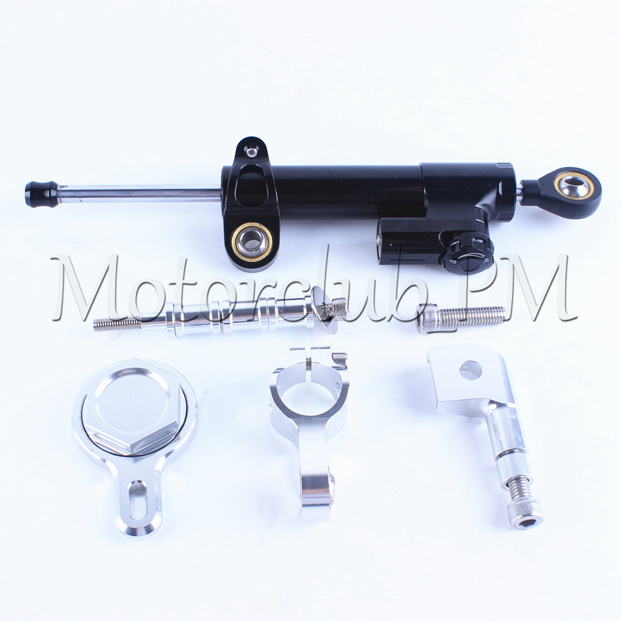 New Motorcycle Steering Damper Stabilizer with Mounting Bracket Kit For Yamaha YZF R1 1999-2005 Silver  Aluminum High Quality new motorcycle steering damper stabilizer with mounting bracket kit for yamaha yzf r3 2014 2016 gold aluminum high quality