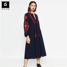 Women Spring Autumn Vintage Casual A-line lantern sleeve Dress National style embroidery Loose Long Dresses Female Vestidos(China)