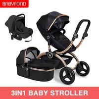 Luxus Baby Kinderwagen Freies Verschiffen High Land-Scape Baby Kinderwagen 3 in 1 Tragbare Falten Kinderwagen 2 in 1 wagen neugeborenen