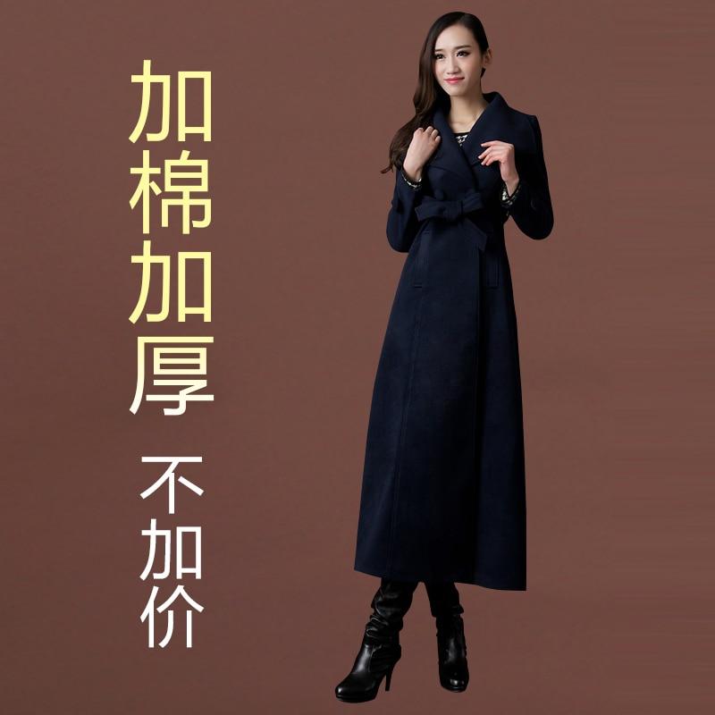 Новое осенне-зимнее шерстяное пальто ультра длинное дизайнерское утепленное шерстяное Женское пальто женское Шерстяное Пальто Верхняя одежда - Цвет: has cotton pad 10