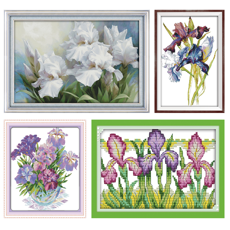 The Iris Flower Series Large Living Room Decoration Grid Embroidery Needlework Cross Stitch DIY Handwork Flowers 11CT 14CT