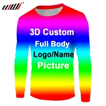 UJWI New Streetwear Sublimate Custom Long Sleeve  Printing Sweatshirt 3d Pettern Design Men Clothing dropshipping DIY Any color