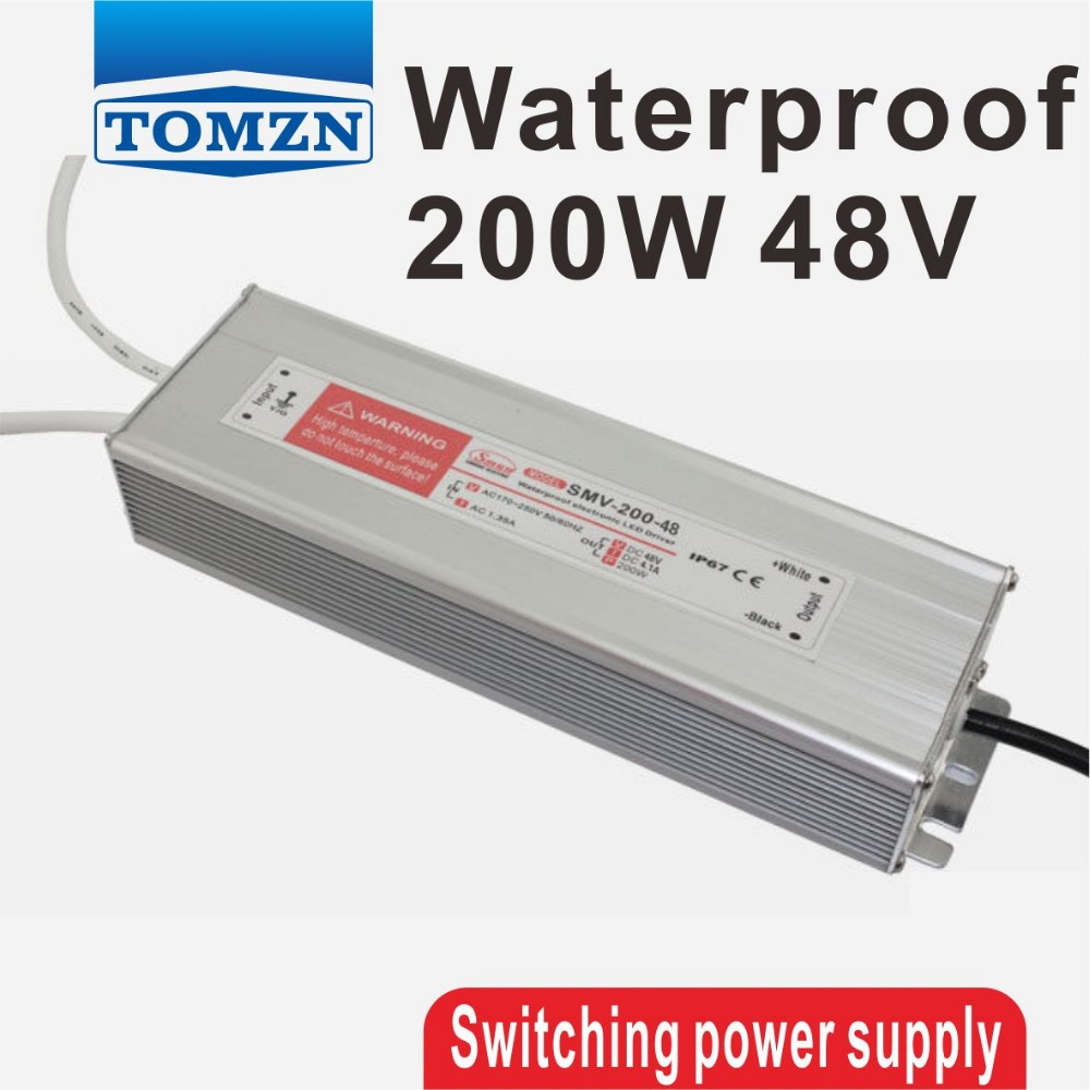 ФОТО 200W 48V 4.1A Waterproof outdoor Single Output Switching power supply for LED